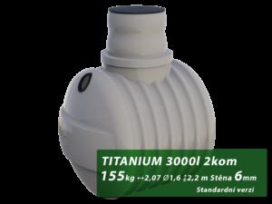 Plastový septik TITANIUM, dvoukomorový 3 m3